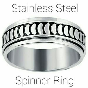 Men's High Polished Stainless Spinner Ring Band